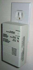 Carbon monoxide detector plugged into an outlet