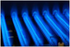 Blue flames of an electric ignition in a furnace