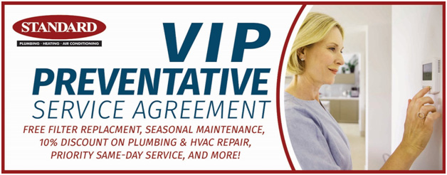 Graphic image promoting the VIP Preventative plan offered by Standard for air conditioning priority services and discounts
