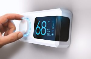 Thermostat showing 68 degrees