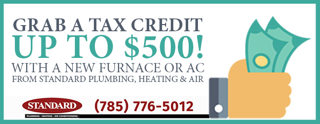Promotional ad for potential $500 tax credit for new energy efficient HVAC installation