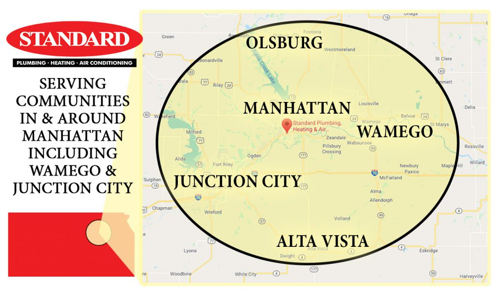 Map of Manhattan, Wamego and Junction City and other Kansas towns Standard Plumbing Heating & Air Conditioning services
