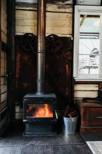 Old wood burning fireplace to heat a home