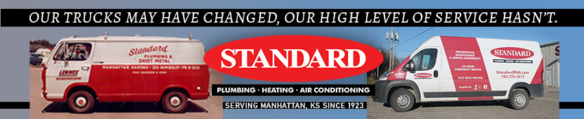 Standard Plumbing Heating & Air Conditioning vans from decades ago and one today.