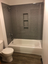 Bathroom shower where having a water softener can help with dry skin and dull hair