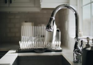 Kitchen sink where hard water can cause problems with spotting or clean dishes